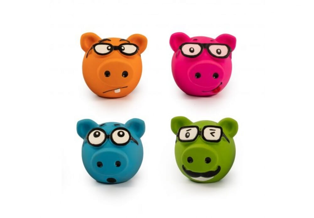 Piggies -  Latex toy with squeakers pack of 2, perfect for throwing and retrieving